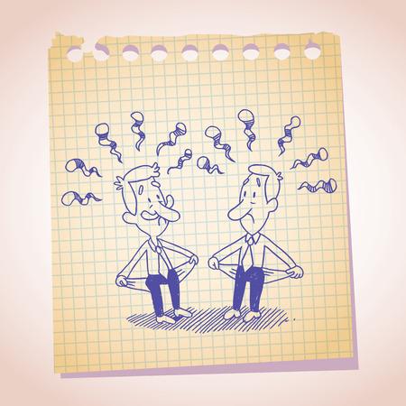 moneyless: Two penniless businessman note paper cartoon sketch