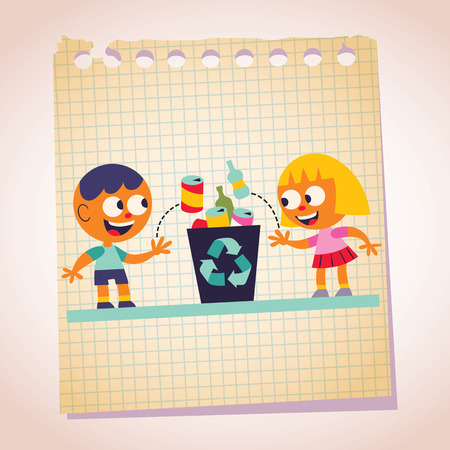 Boy and girl recycling note paper cartoon illustration Vector