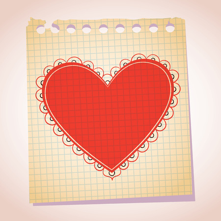 note paper: Heart note paper cartoon illustration