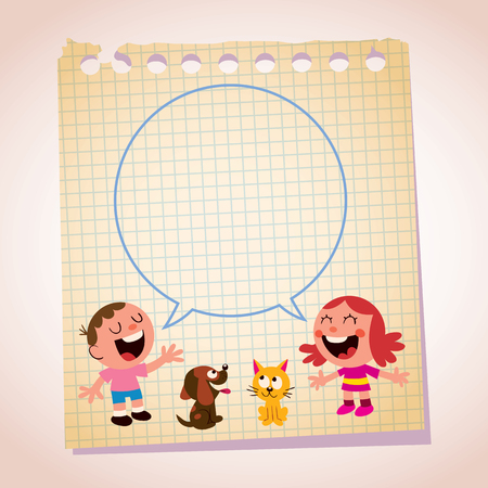 duet: kids speech bubble note paper cartoon illustration