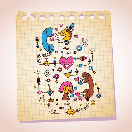 love telephone conversation note paper cartoon illustration Vector