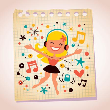 hand beats: Pretty girl listening music note paper cartoon illustration Illustration