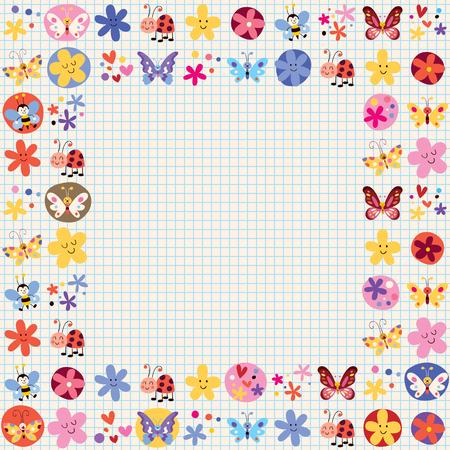 cute butterflies beetles bees flowers decorative design elements Vector