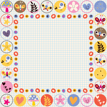 baby background: cute flowers, birds & hearts decorative border