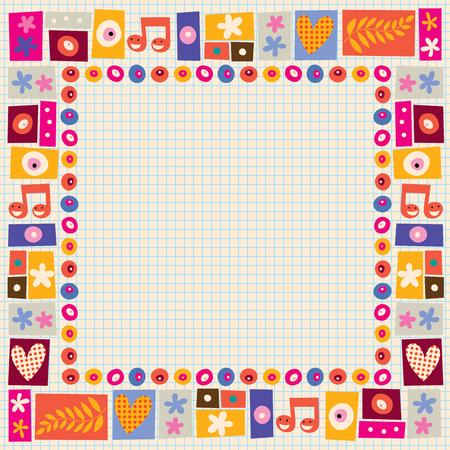 folk music: flowers & hearts decorative border