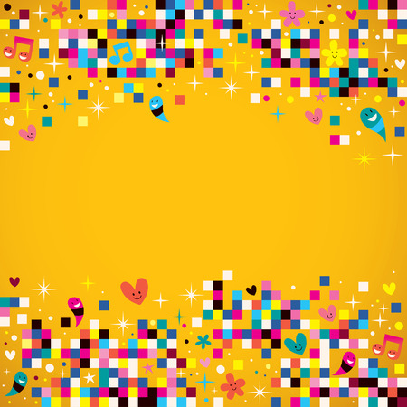 youth: fun pixel squares background Illustration