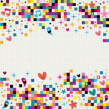 楽しいピクセルの正方形メモ用紙の背景