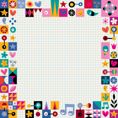 youth culture: hearts, stars and flowers abstract art border