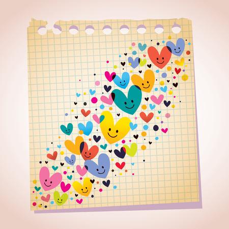 corazones de amor: corazones de amor, tenga en cuenta el papel de dibujos animados Vectores