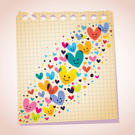 note paper: love hearts note paper cartoon illustration Illustration