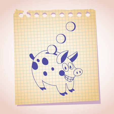 thrift: Piggy bank note paper cartoon sketch