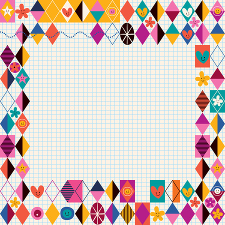 decorate notebook: Retro style decorative border Illustration
