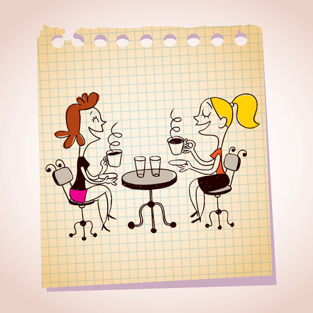 two people meeting: two girls drinking coffee note paper cartoon illustration Illustration