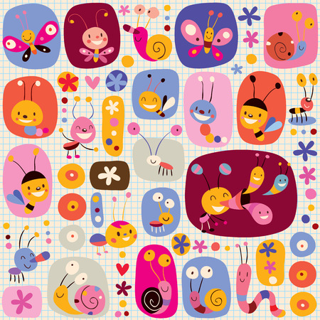 cartoon butterfly: butterflies beetles snails bees flowers nature pattern Illustration