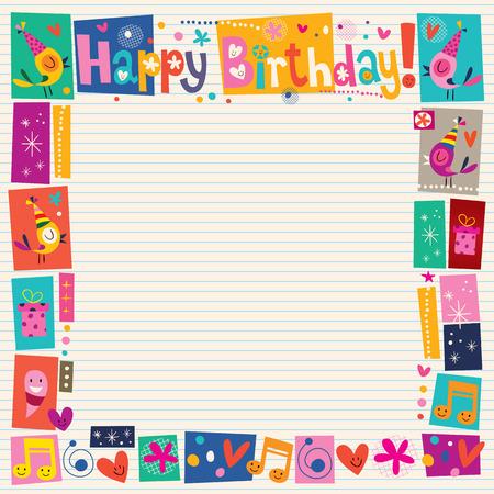 persona alegre: Feliz cumpleaños frontera decorativa