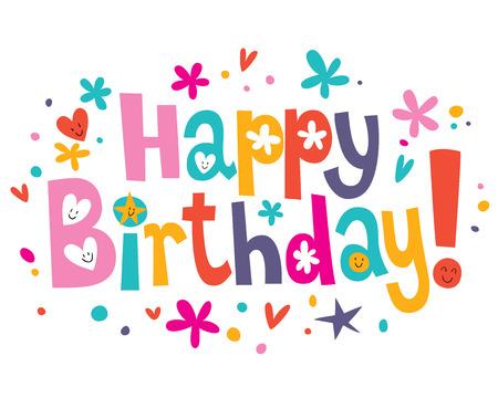 幸せな誕生日のテキスト  イラスト・ベクター素材