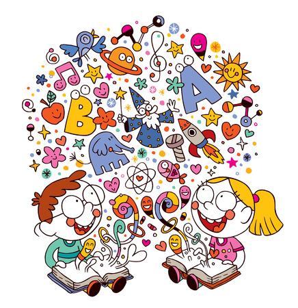 子供の本を読んで  イラスト・ベクター素材