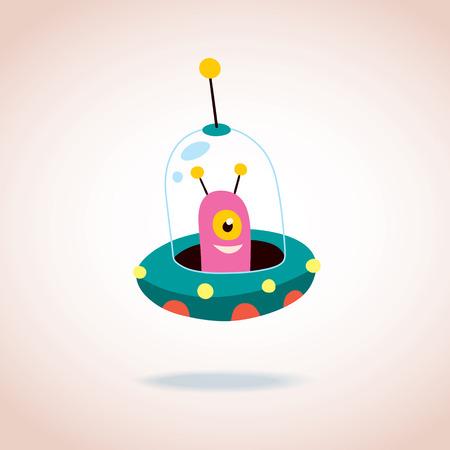 raumschiff: niedlich Fremdheit Illustration