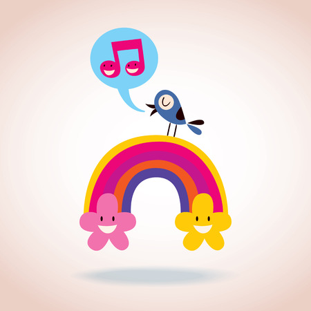 rainbow flowers and singing bird Vector