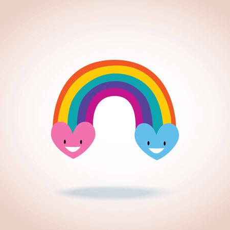 arcoiris caricatura: corazones del arco iris