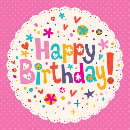 glücklich: Herzlichen Glückwunsch zum Geburtstag  Illustration