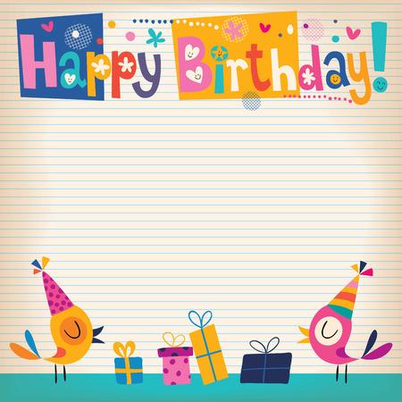 glücklich: Alles Gute zum Geburtstag Karte Illustration