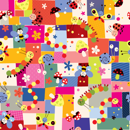 bees, mushrooms, snails, butterflies, caterpillars, ladybugs and flowers pattern Vector
