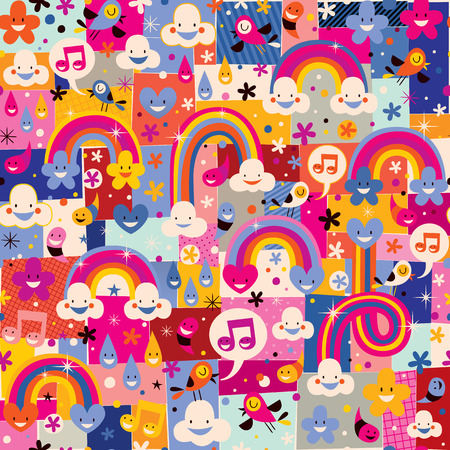 clouds, birds, rainbows and hearts pattern