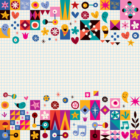 abstract art background: hearts, stars and flowers abstract art background