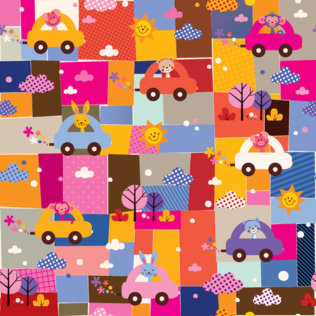 travel collage: cute animals driving cars kids collage pattern Illustration