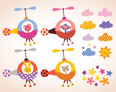 monkey cartoon: cute animals in helicopters kids design elements set
