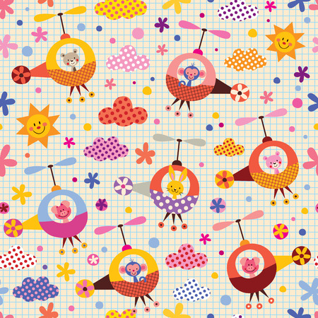cute animals in helicopters kids pattern Vector