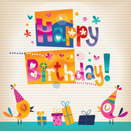 Cute birds Happy Birthday card Illustration