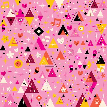 arte abstrata: tri�ngulos divertidas arte abstrata funky retro dos desenhos animados padr�o