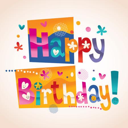 happy birthday text: Happy Birthday text Illustration