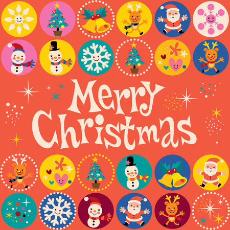 Feliz Navidad tarjeta de felicitación retro Foto de archivo - 32044392