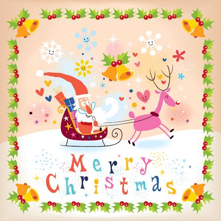 Santa and reindeer Merry Christmas card Vector