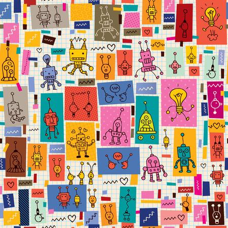 cute robots collage cartoon retro doodle pattern Vector