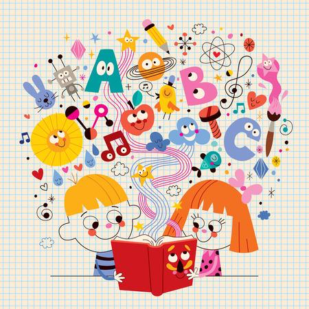 libro caricatura: niño y niña concepto de educación Libro de lectura de la ilustración