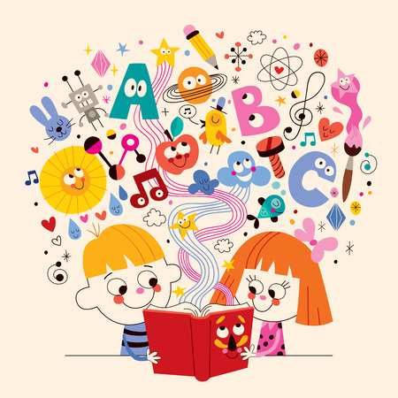 cute kids reading book education concept illustration Çizim