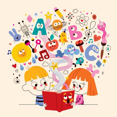 školní děti: roztomilé děti čtení knih školství pojetí ilustrace Ilustrace