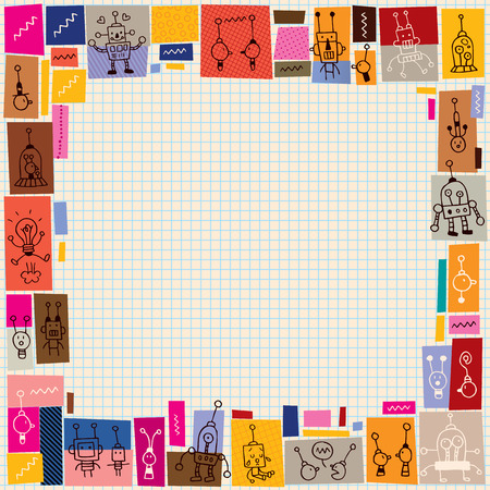 cute robots collage doodle border Vector