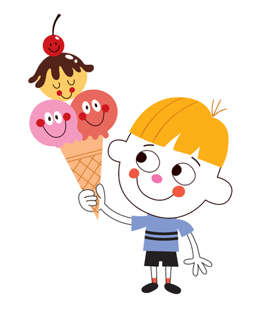eating ice cream: little boy eating ice cream cone Illustration
