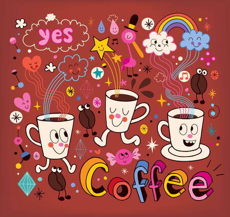 Coffee cartoon illustration Vector