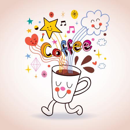 コーヒーカップ: コーヒー カップかわいいキャラクターを漫画します。  イラスト・ベクター素材