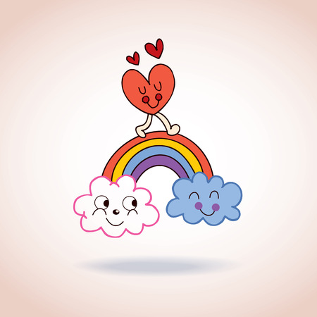 clouds rainbow and heart cute characters illustration Vector