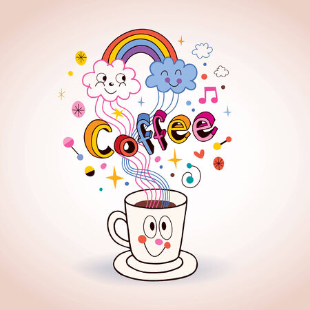 Cute cartoon coffee cup illustration Vector