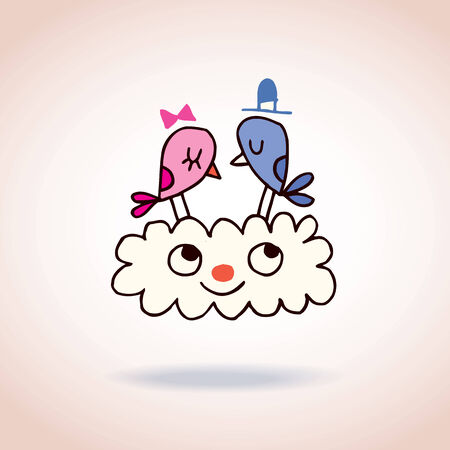cartoon wedding couple: Cute love birds on cloud