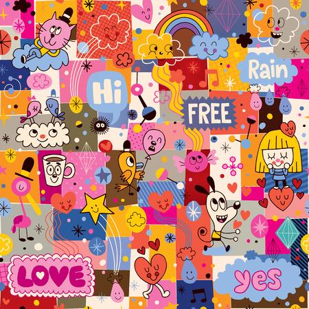 hand drawn sketchy fun cartoon collage pattern Imagens - 32044715