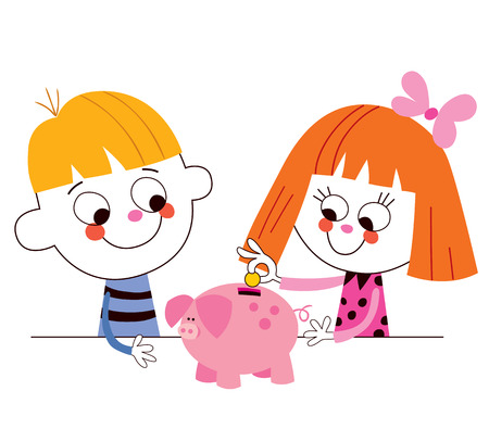 cartoon pig: little boy and girl with piggy bank Childrens savings